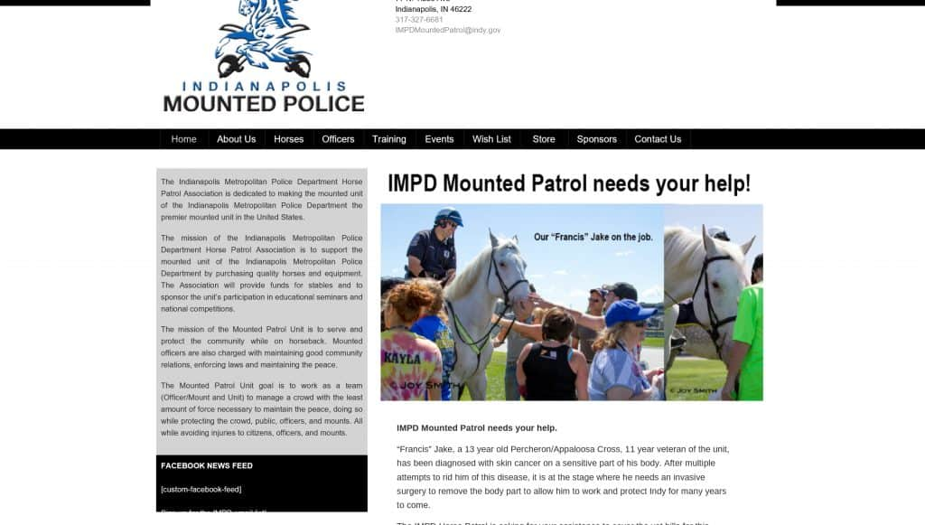 The former IMPD Mounted Patrol website